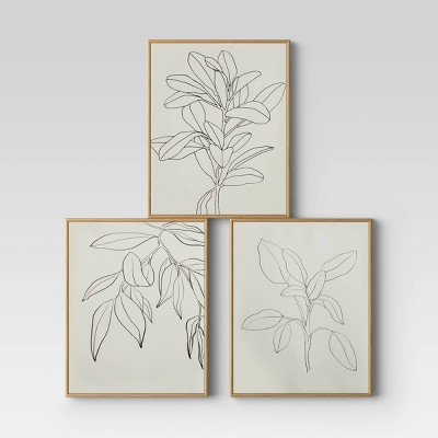 "(Set of 3)16"" x 20"" Leaf Illustrations Framed Wall Canvas - Opalhouse™"