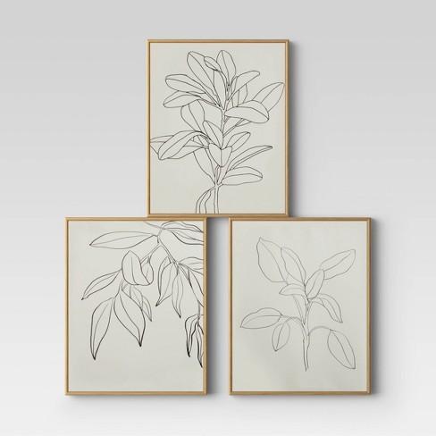 "(Set of 3) 16"" x 20"" Leaf Illustrations Framed Wall Canvas - Opalhouse™ - image 1 of 4"