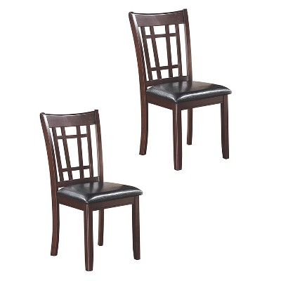 Coaster Home Furnishings Lavon Padded Wooden Dining Side Chair w/ Padded Seat Cushions & Black Leatherette Upholstery, Espresso (2 Pack)