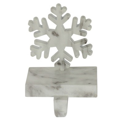 """Northlight 7.25"""" White and Black Marbled Snowflake Christmas Stocking Holder"""