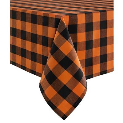 Farmhouse Living Fall Buffalo Check Tablecloth - Black/Orange - Elrene Home Fashions