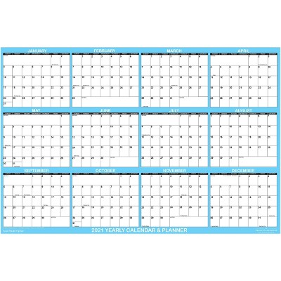 "2021 Dry Erase Wall Calendar 48""x72"" Blue Accent - SwiftGlimpse"