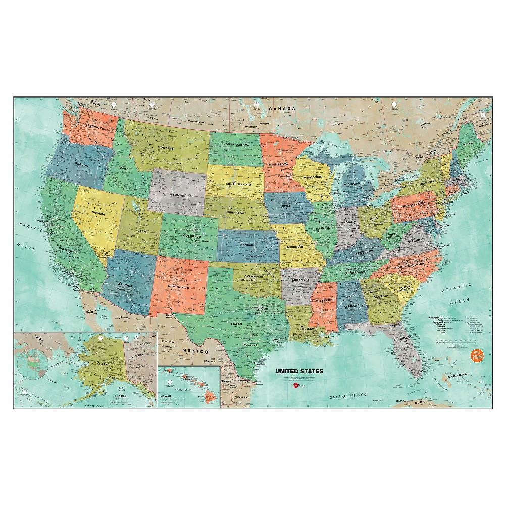 Wall Pops! White Board Decals 2ct 24 x 36 - US Map, Multi-Colored