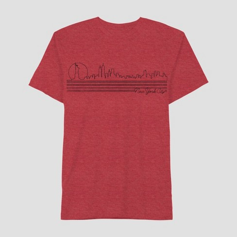 Men's Short Sleeve NYC Thin Line Skyline Graphic T-Shirt - Awake Red - image 1 of 2