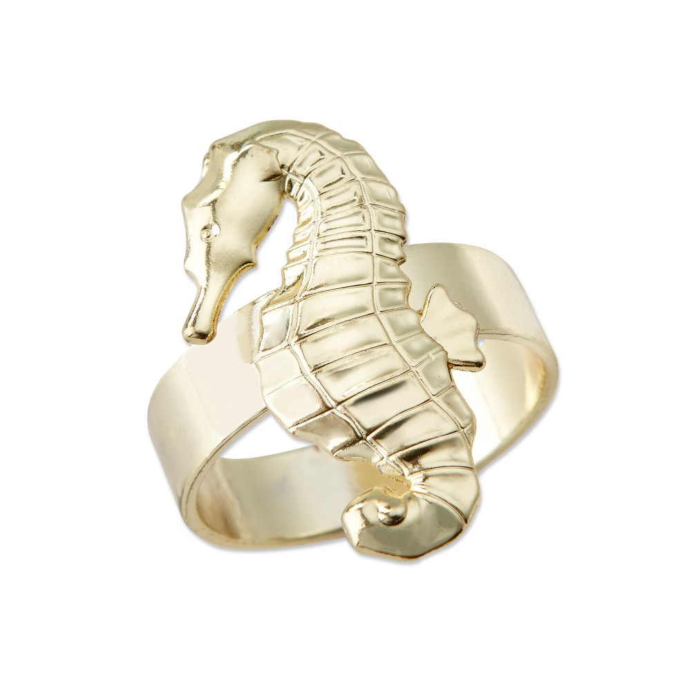 Image of 8ct Seahorse Napkin Ring Gold