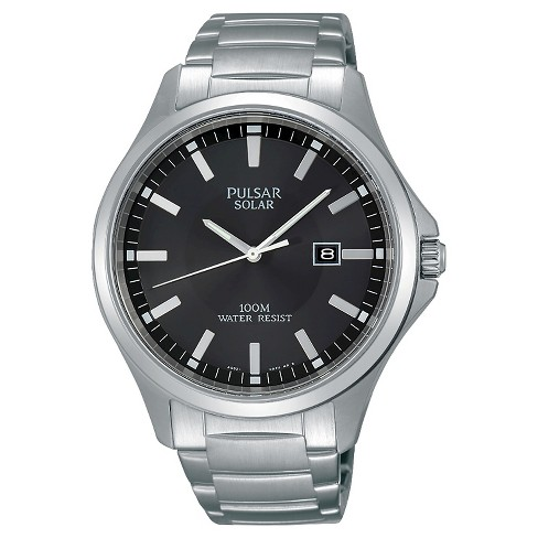 Men's Pulsar Solar Dress Watch - Silver Tone with Black Dial - PX3073 - image 1 of 1