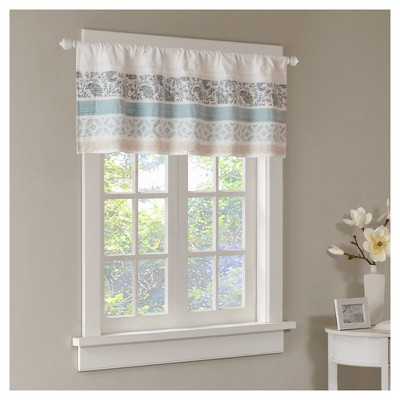"""18""""x50"""" Stella Printed and Pieced Valance Blue"""