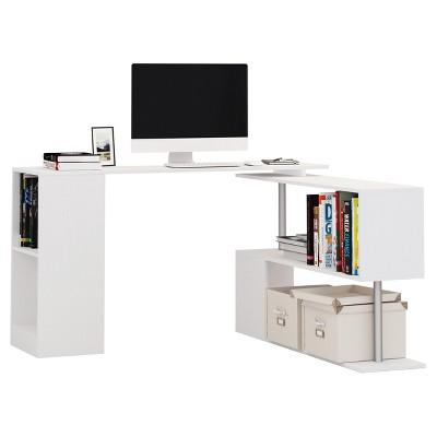 "HomCom 55"" Modern L-Shaped Rotating Computer Desk with Shelves"