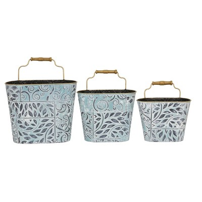 Set of 3 Metal Textured Patterned Planters with Metal Rim and Wood Handle Blue/Antique Gold - Olivia & May