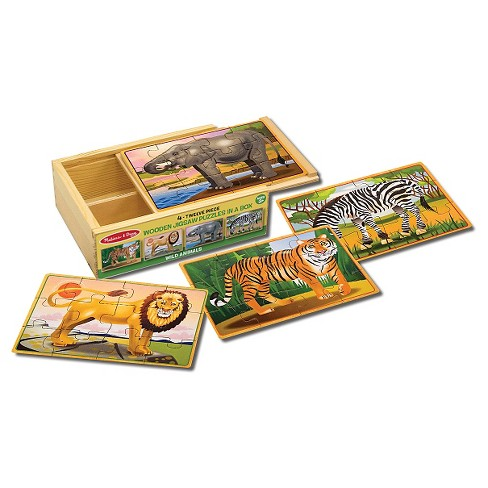 Melissa & Doug® Wild Animals 4-in-1 Wooden Jigsaw Puzzles in a Storage Box (48pc) - image 1 of 3