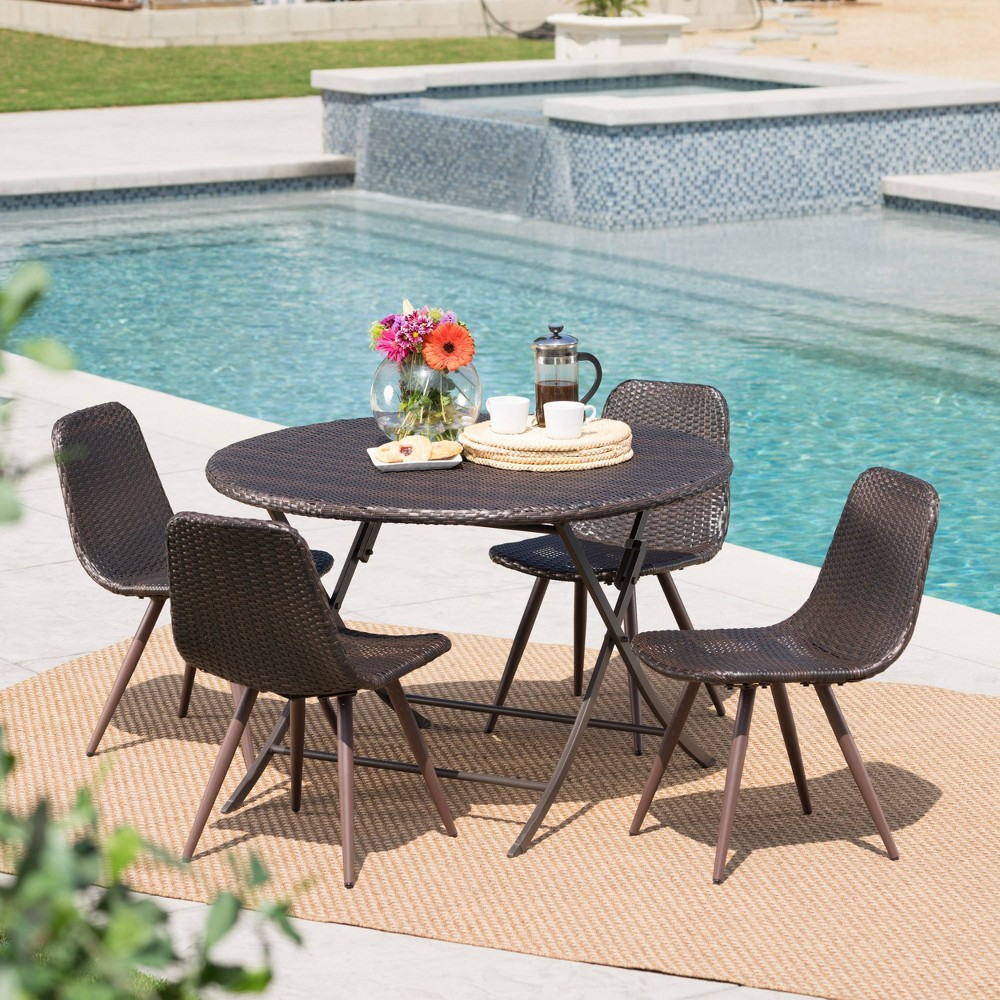 Jude Caleb 5pc Wicker Dining Set - Brown - Christopher Knight Home
