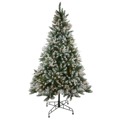 Northlight 6.5' Prelit Artificial Christmas Tree Frosted Sierra Fir - Clear Lights
