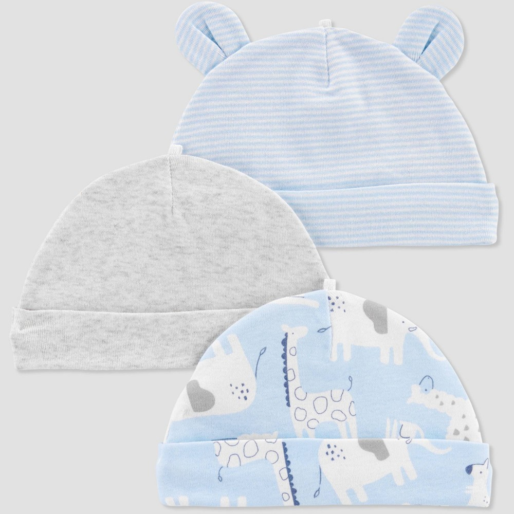 Image of Baby Boys' 3pk Caps - Just One You made by carter's Sky Blue Osfm, Boy's, Size: Small