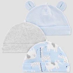 Baby Boys' 3pk Caps - Just One You® made by carter's Sky Blue Osfm