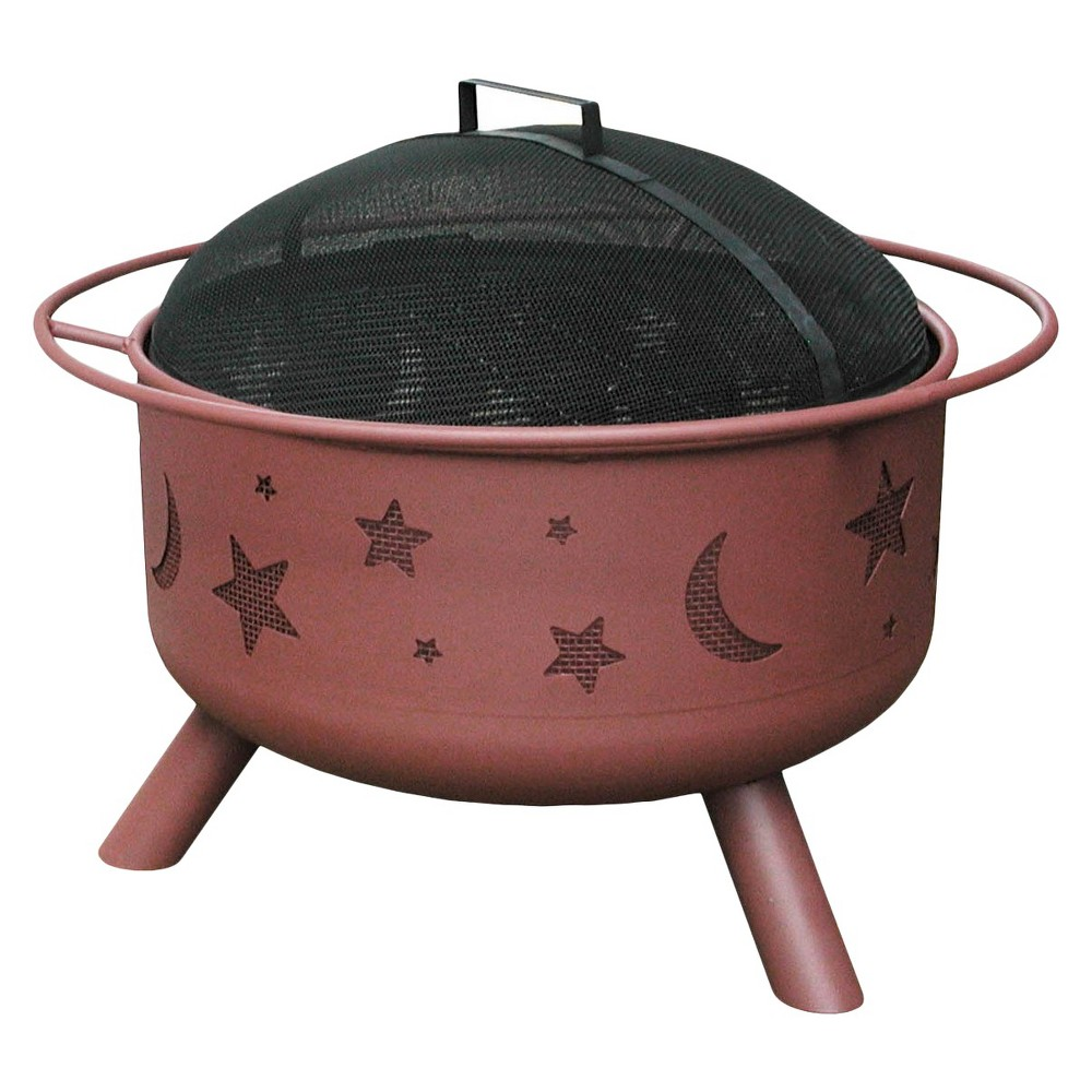 Image of Stars & Moon Big Sky 29.5 Steel Fire Pit Georgia Clay - Round - Landmann, Red Clay