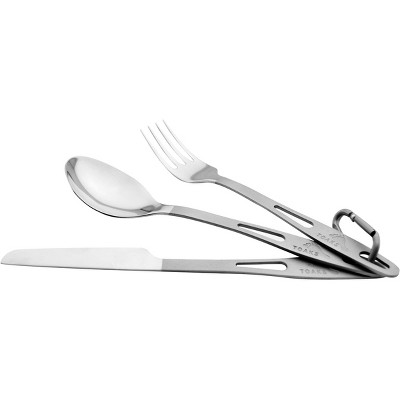 TOAKS Three-Piece Polished Head Titanium Cutlery Set with Matte Finish Handles