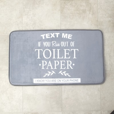 Lakeside Text Me if You Run Out of Toilet Paper Bathroom Rug with Nonslip Latex Backing