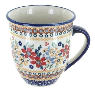 Blue Rose Polish Pottery Red Daisy Breakfast Mug