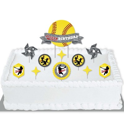 Big Dot of Happiness Grand Slam - Fastpitch Softball - Birthday Party Cake Decorating Kit - Happy Birthday Cake Topper Set - 11 Pieces