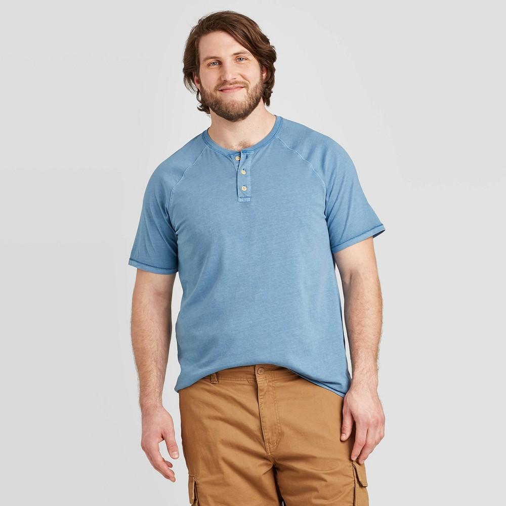 Image of Men's Big & Tall Standard Fit Short Sleeve Henley Shirt - Goodfellow & Co Blue 2XBT, Men's