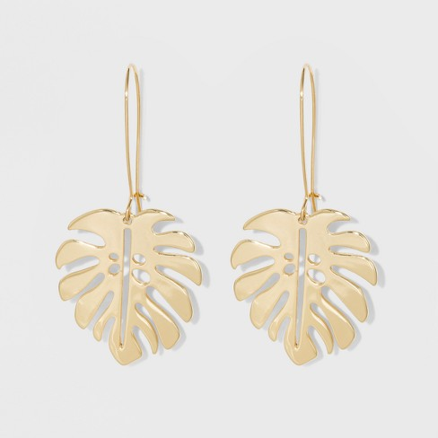 Leaf Earrings - A New Day™ Gold - image 1 of 4
