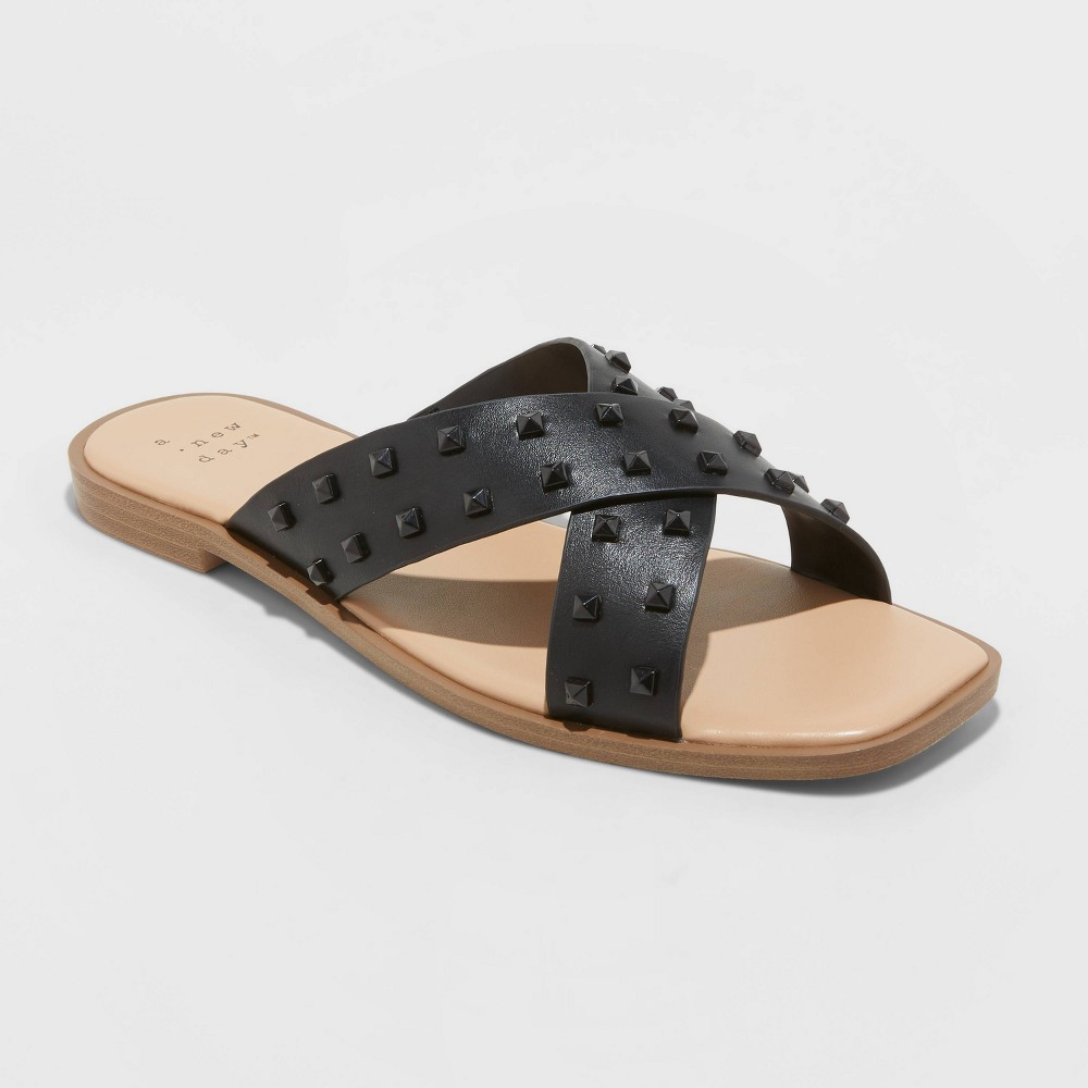 Women 39 S Emmy Studded Crossband Sandals A New Day 8482 Black 11