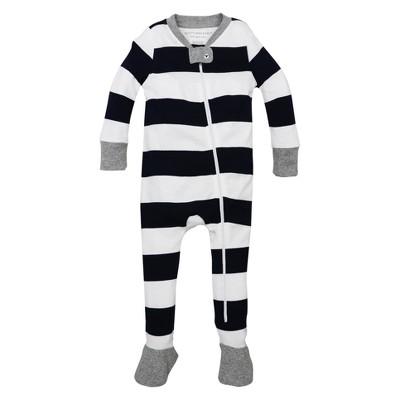 Burt's Bees Baby® Organic Cotton Long Sleeve Rugby Stripe Sleeper - Midnight Blue