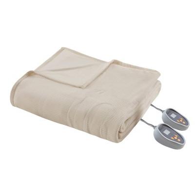 Knitted Micro Fleece Electric Blanket (Queen)Natural - Beautyrest