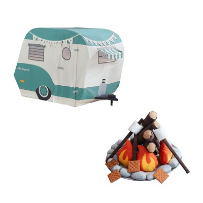 Asweets Indoor Childrens Kids Mini Camper Pretend Play House Tent and Campout Camp Fire and Smores Accessory Set