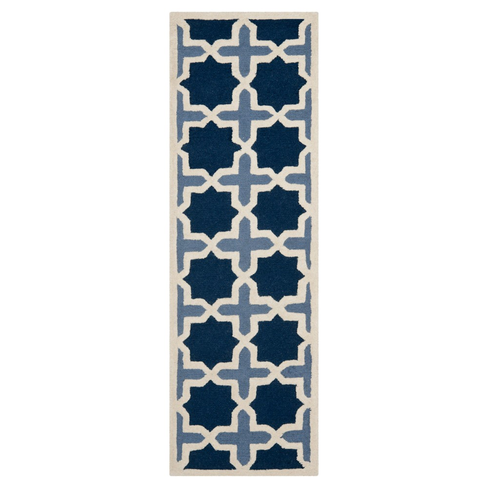 2'6X10' Geometric Runner Blue/Ivory - Safavieh