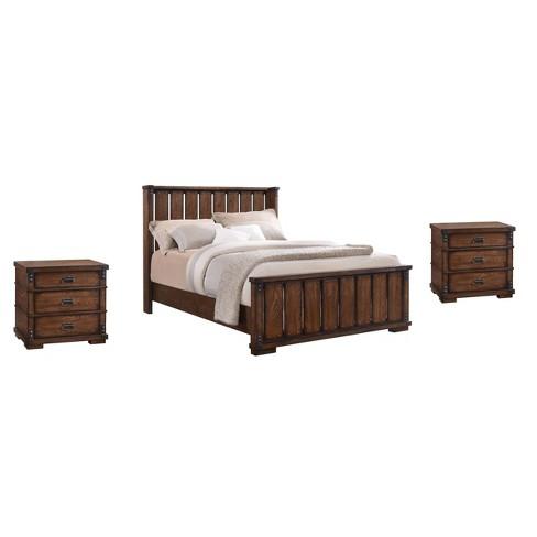 3pc Kelby Vintage Oak Wood Bedroom Set Brown - Abbyson Living - image 1 of 4