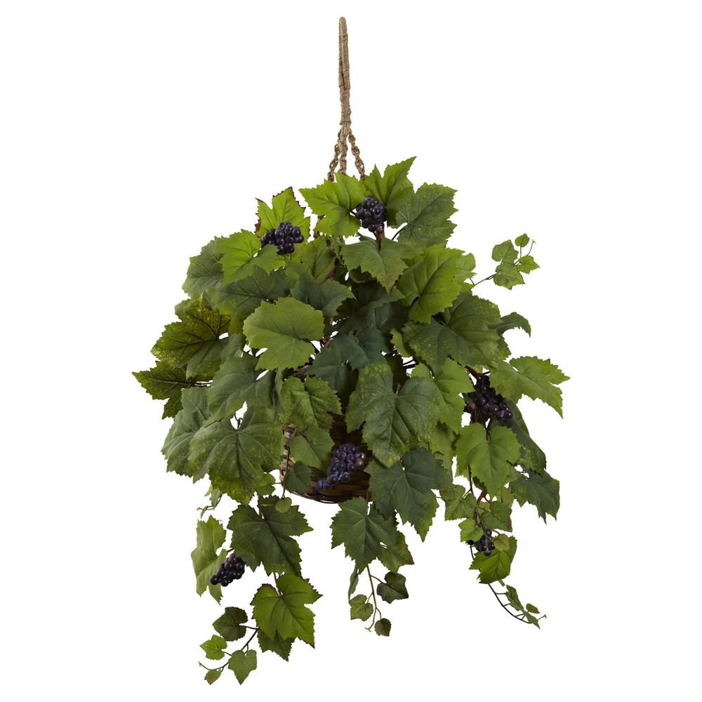 Grape Leaf Hanging Basket Purple - Nearly Natural