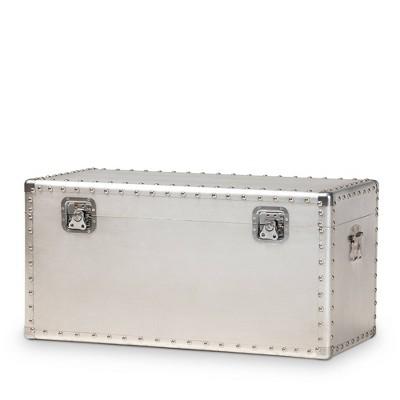 Serge Metal Storage Trunk Silver - Baxton Studio