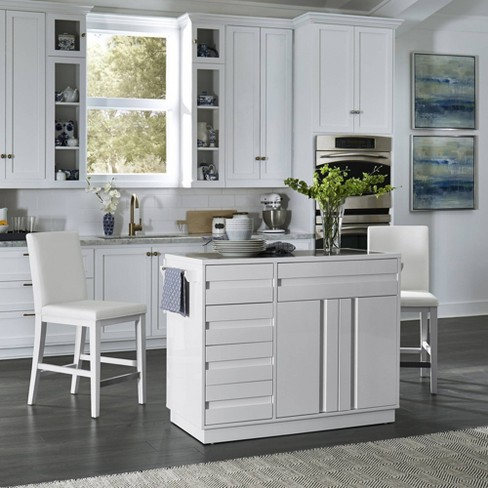 Linear Kitchen Island & 2 Stools White - Home Styles