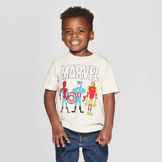 Toddler Boys' Marvel Collection Icons Short Sleeve T-Shirt - Beige 2T
