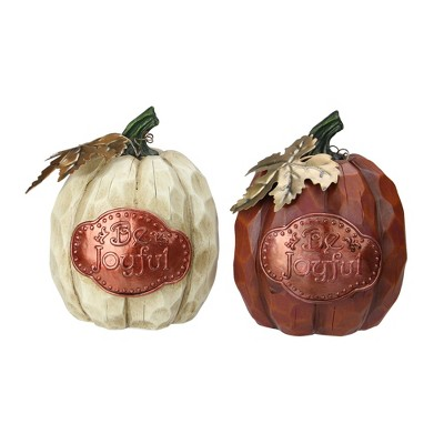 "Northlight Set of 2 Brown and Cream Autumn Harvest ""Be Joyful"" Pumpkins"