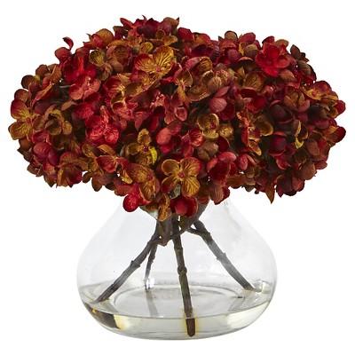 8.5 H Hydrangea Silk Flower Arrangement with Glass Vase - Nearly Natural
