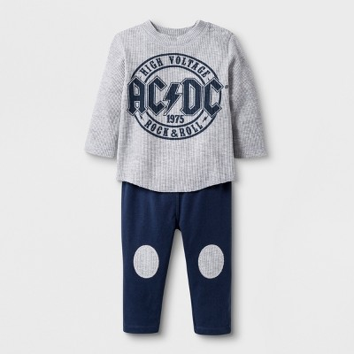 Baby Boys' AC/DC 2pc Long Sleeve T-Shirt and Jogger Set - Gray/Blue Newborn