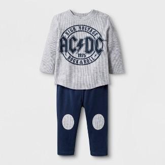Baby Boys' AC/DC 2pc Long Sleeve T-Shirt and Jogger Set - Gray/Blue 6-9M