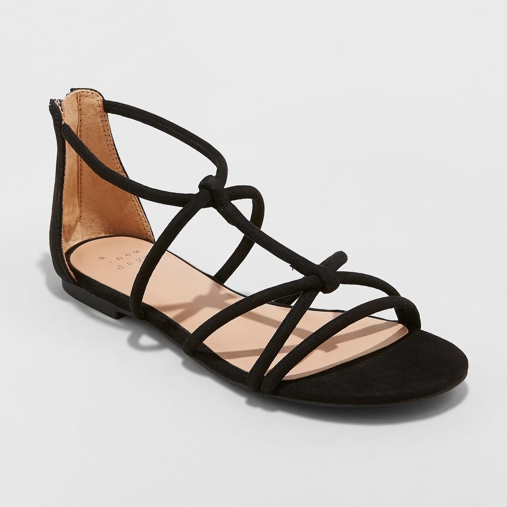 Women's Samina Gladiator Sandals - A New Day Black 9.5