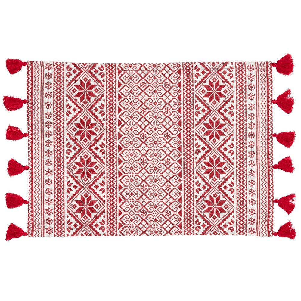 "Image of ""14"""" X 20"""" Christmas Pattern Placemat Set of 4 pc Red - SARO Lifestyle"""