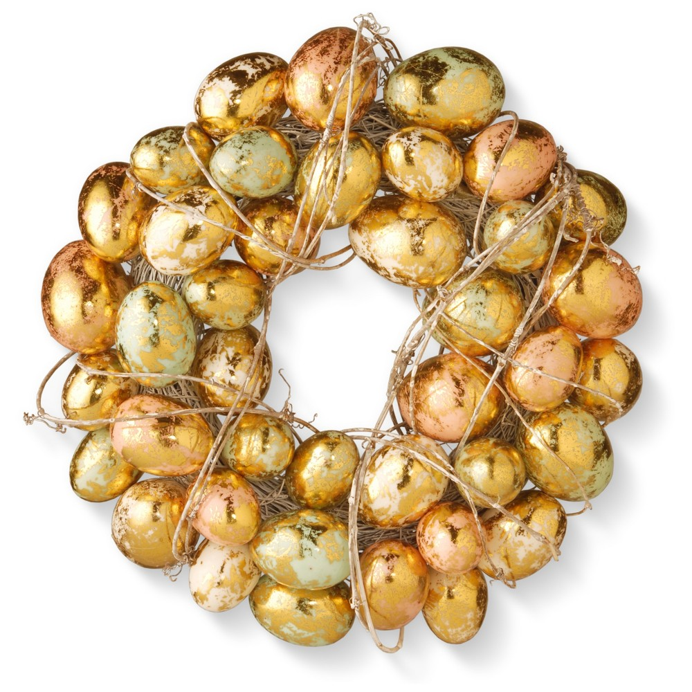 "Image of ""12"""" Gilded Easter Egg Wreath - National Tree Company"""