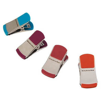 KitchenAid Bag Clips Stainless Steel 4 Pack Assorted Color