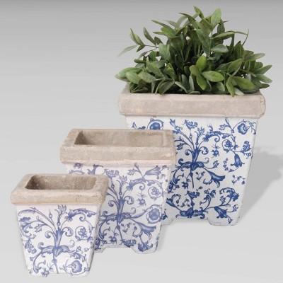 "3pc 8"" Ceramic Aged Nesting Planters Blue - Esschert Design"
