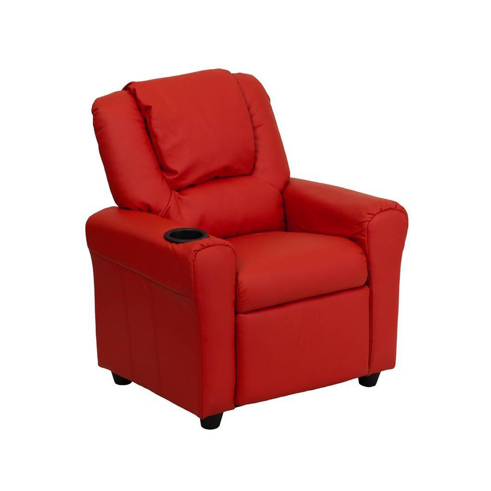 Contemporary Kids Recliner with Cup Holder and Headrest Vinyl Red - Riverstone Furniture