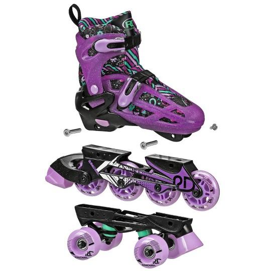 Roller Derby Lomond Girls Adjustable Inline-Quad Combo Skates Size 3-6 - Black image number null
