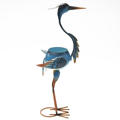 Lakeside Colorful Metal Bird Planter with Wings on Springs