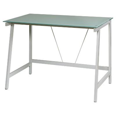 Contemporary Glass Writing Desk, Steel Frame - Onespace