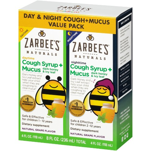 Zarbee's Naturals Children's Daytime/Nighttime Cough Syrup + Mucus Reducer - Grape - 8 fl oz/2ct - image 1 of 4