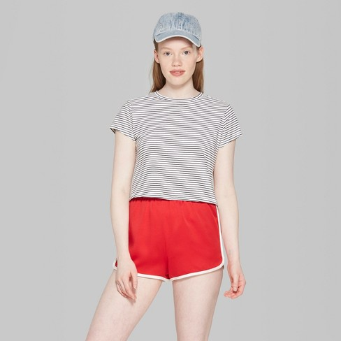 650ea3c51c Women's Striped Short Sleeve Boxy Cropped T-Shirt - Wild Fable™ White/Black